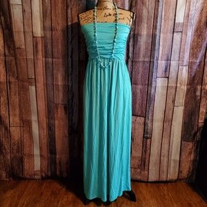 Rags and Couture 1X strapless Maxi dress w/pockets